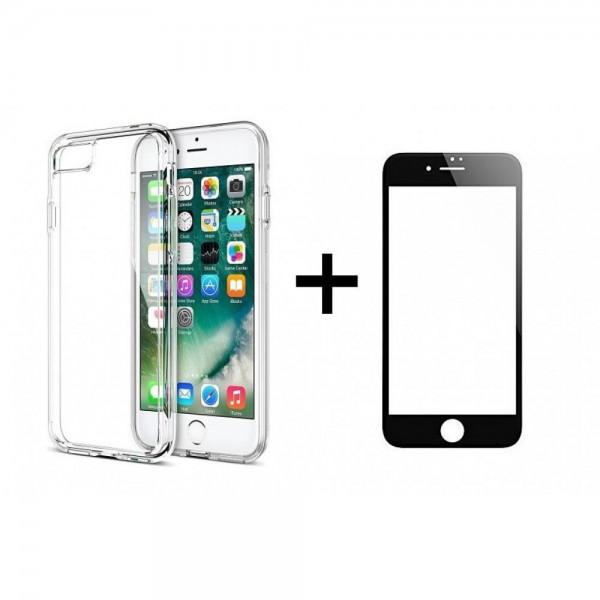 Комплект стъклен протектор + Калъф за iPhone 7/8, Черен