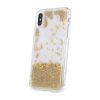 Силиконов кейс с течност, перли и букви - iPhone 11 Pro, Златист