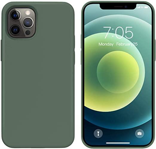 Силиконов кейс за iPhone 12/12 Pro (6.1), Масленозелен