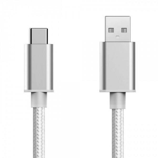 Плетен кабел USB MBX - Micro USB, Сребрист